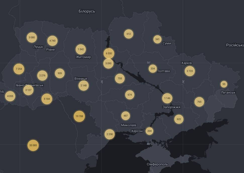 Карта поширення коронавіруса в Україні