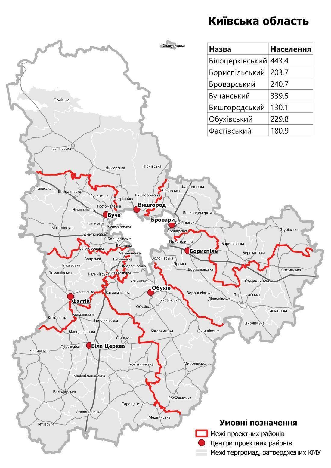 Карта новых районов Киевской области