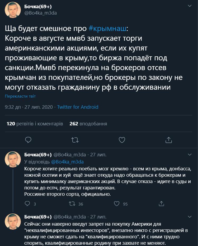 Московська біржа може потрапити під санкції через Крим