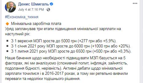 В Украине повысят минималку, заявил Шмыгаль