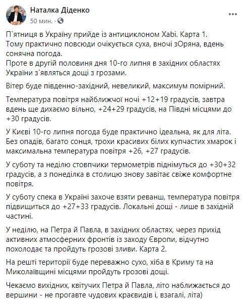 Прогноз погоды на выходные в Украине
