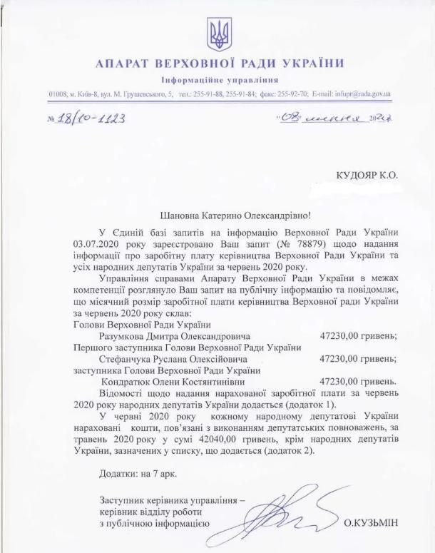 Зарплата голови Верховної Ради і його заступників