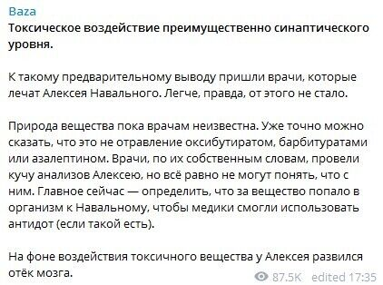 У Алексея Навального развился отёк мозга