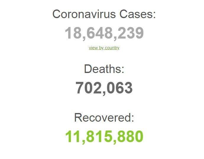Коронавирусом заразились более 18,6 млн человек в мире