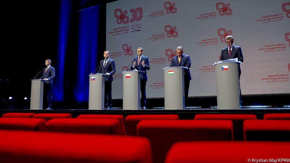 Пресс-конференция глав правительств Вишеградской группы.