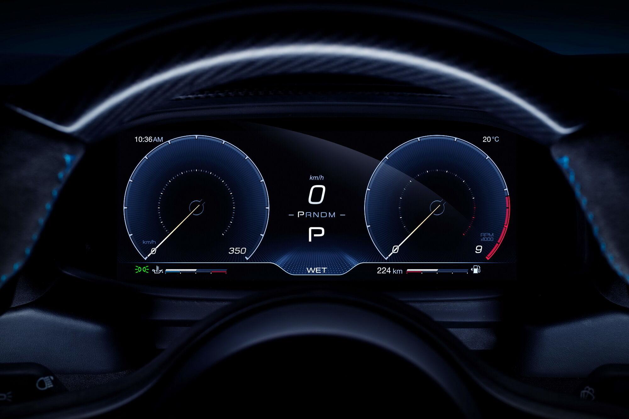 Maserati MC20 получил полностью цифровой кокпит. Фото: