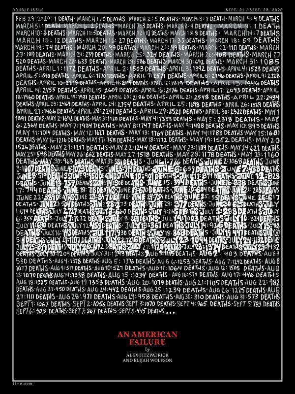 Траурная обложка журнала Time от 21 сентября.
