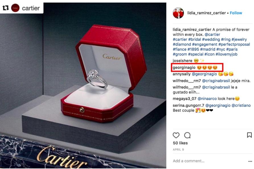 Джорджина спровоцировала слухи, что Криштиану Роналду купил ей обручальное кольцо за 615000 фунтов стерлингов, прокомментировав этот пост в Instagram.