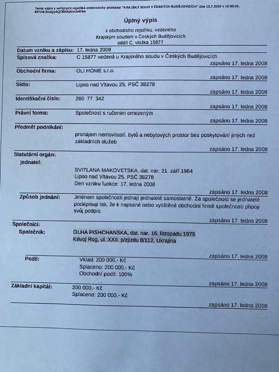 Голобуцкий опубликовал данные о собственности Пищанской в Чехии.