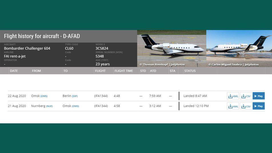 Этот же самолет транспортировал Навального.