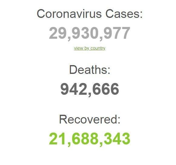Коронавірусом заразилися майже 30 млн.