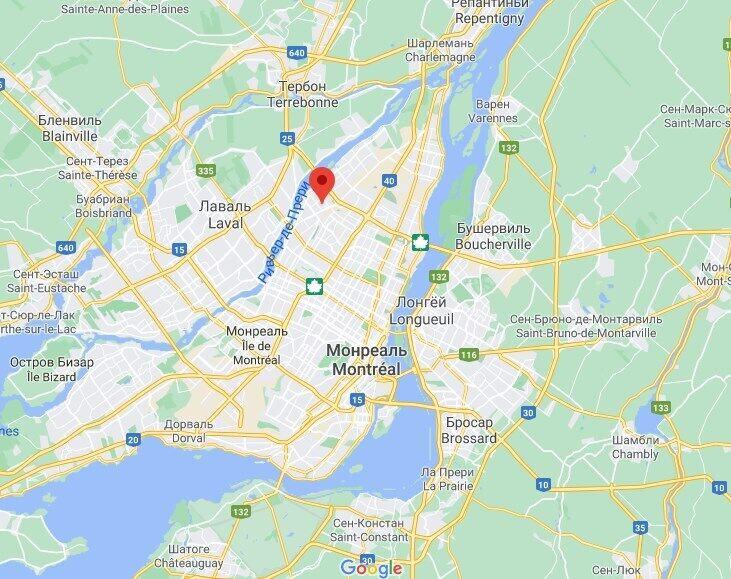Карта Монреаля и место наезда на пешеходов.