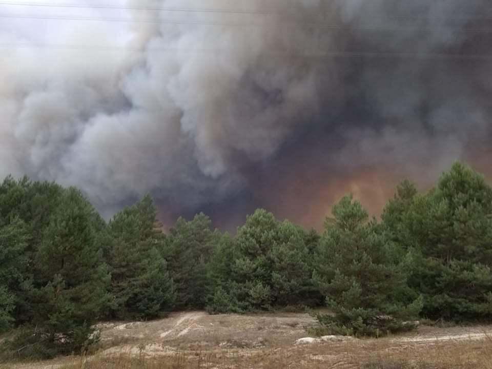 Пожар на военном полигоне в Киевской области.