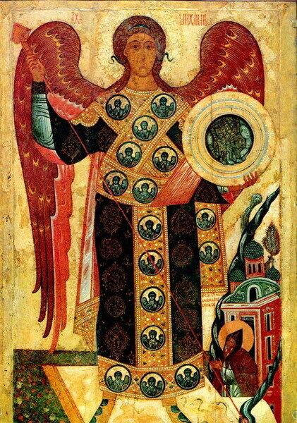 На іконах Архистратиг Михаїл зображується з мечем у руках