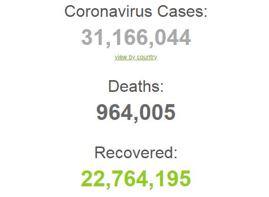 Заразились более 31,1 млн по всему миру.