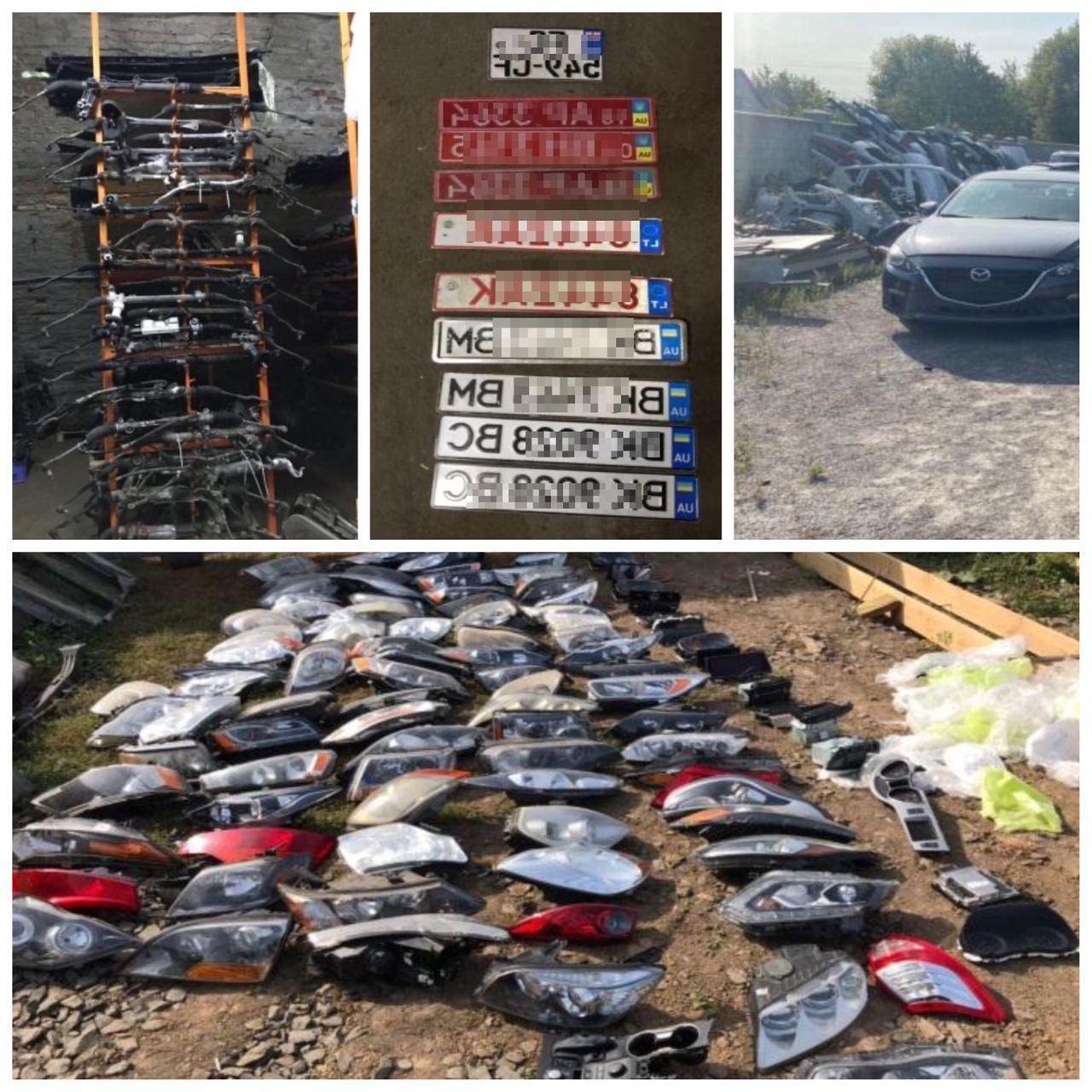 Во время обысков обнаружены номерные знаки, удостоверение водителя, комплекты ключей от авто, 88 фар