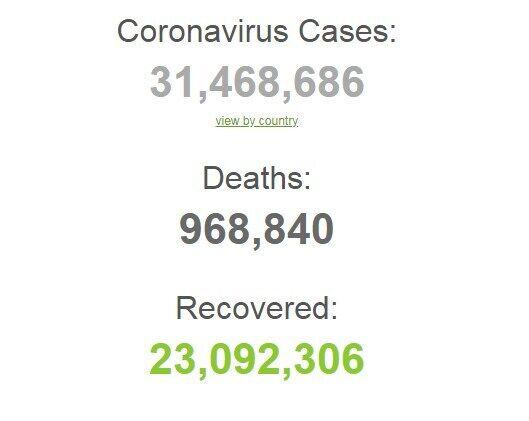 Коронавірусом у світі заразилися понад 31,4 млн.