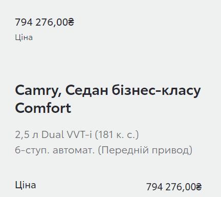 Вартість Toyota Camry на офіційному сайті.