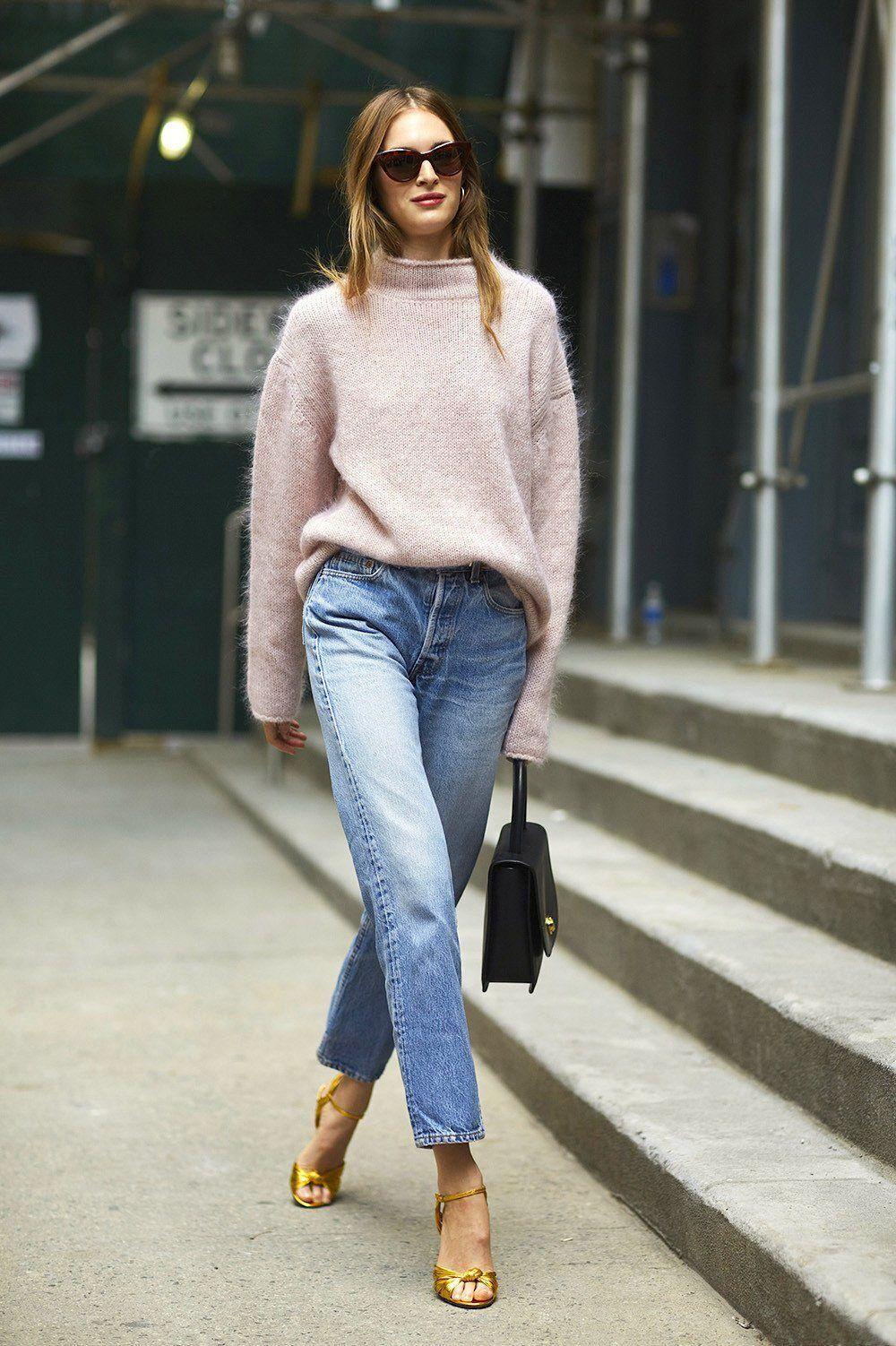 У моді прямі джинси із завищеною талією