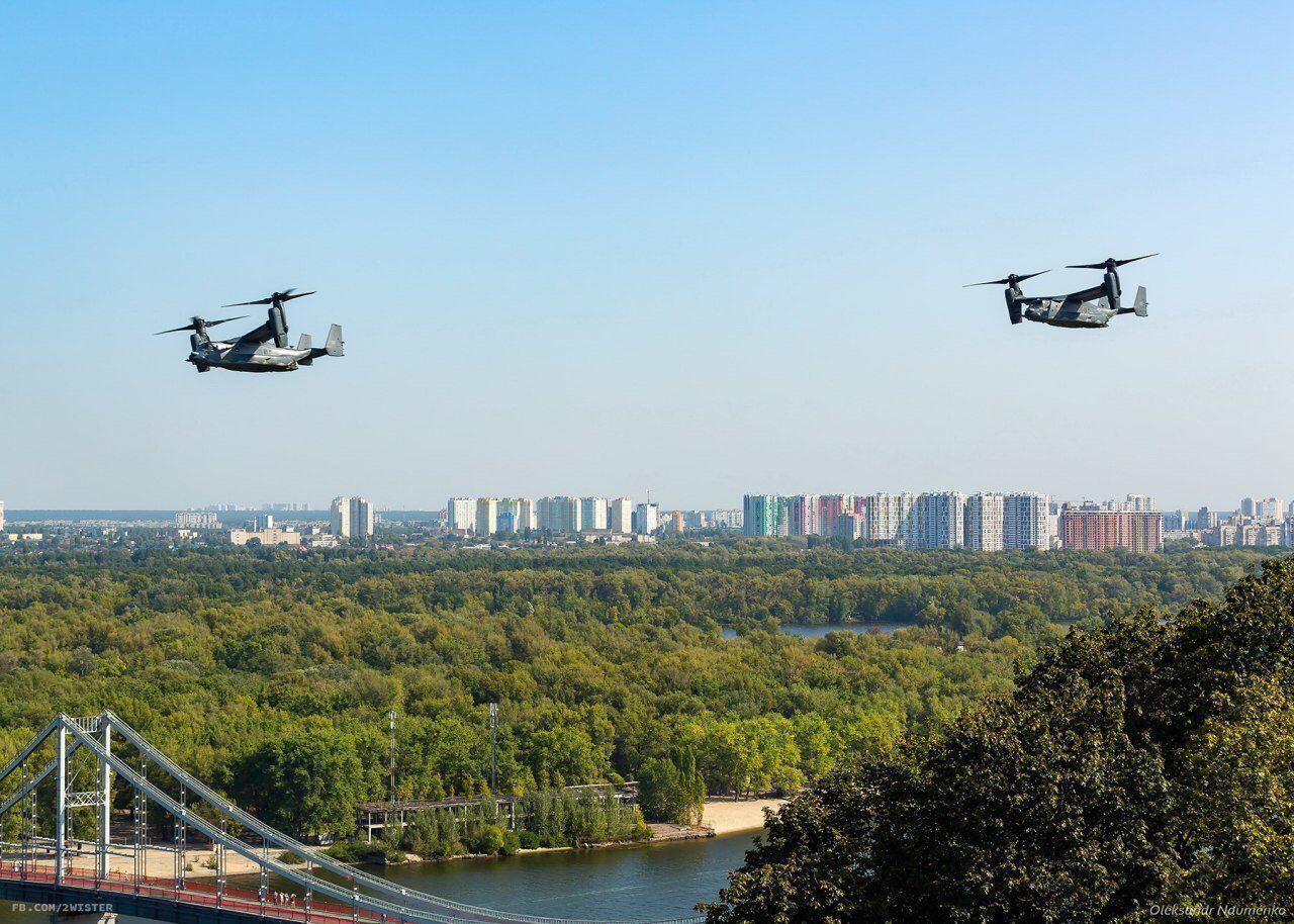 Гибриды самолета и вертолета кружили над Днепром.
