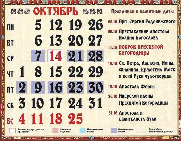 Церковний православний календар на жовтень 2020 року