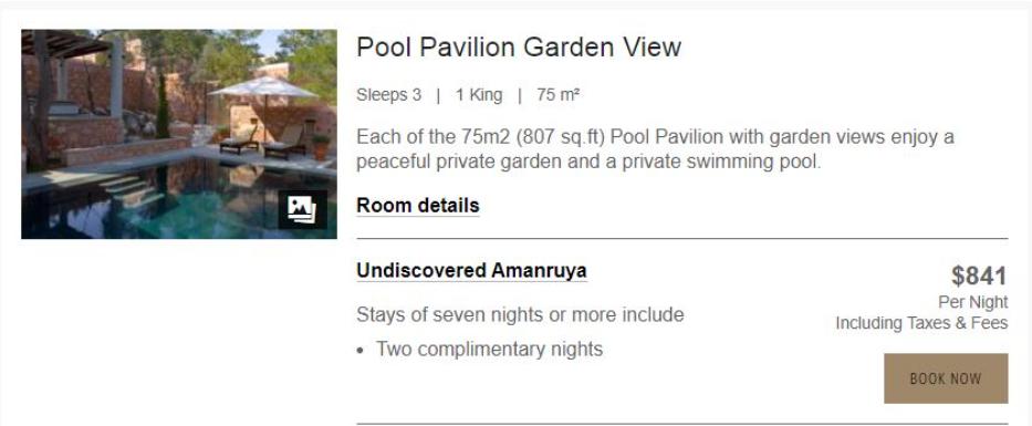 Вартість відпочинку в готелі AMANRUYA.