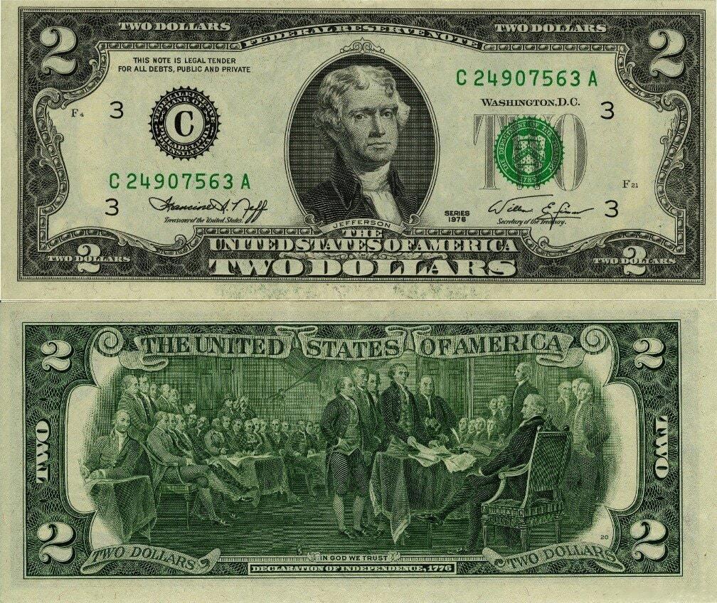Купюра номіналом 2 долари США.
