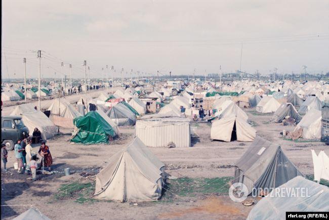 Азербайджанське наметове містечко для втікачів із Шуші і Агдама, 1992 рік