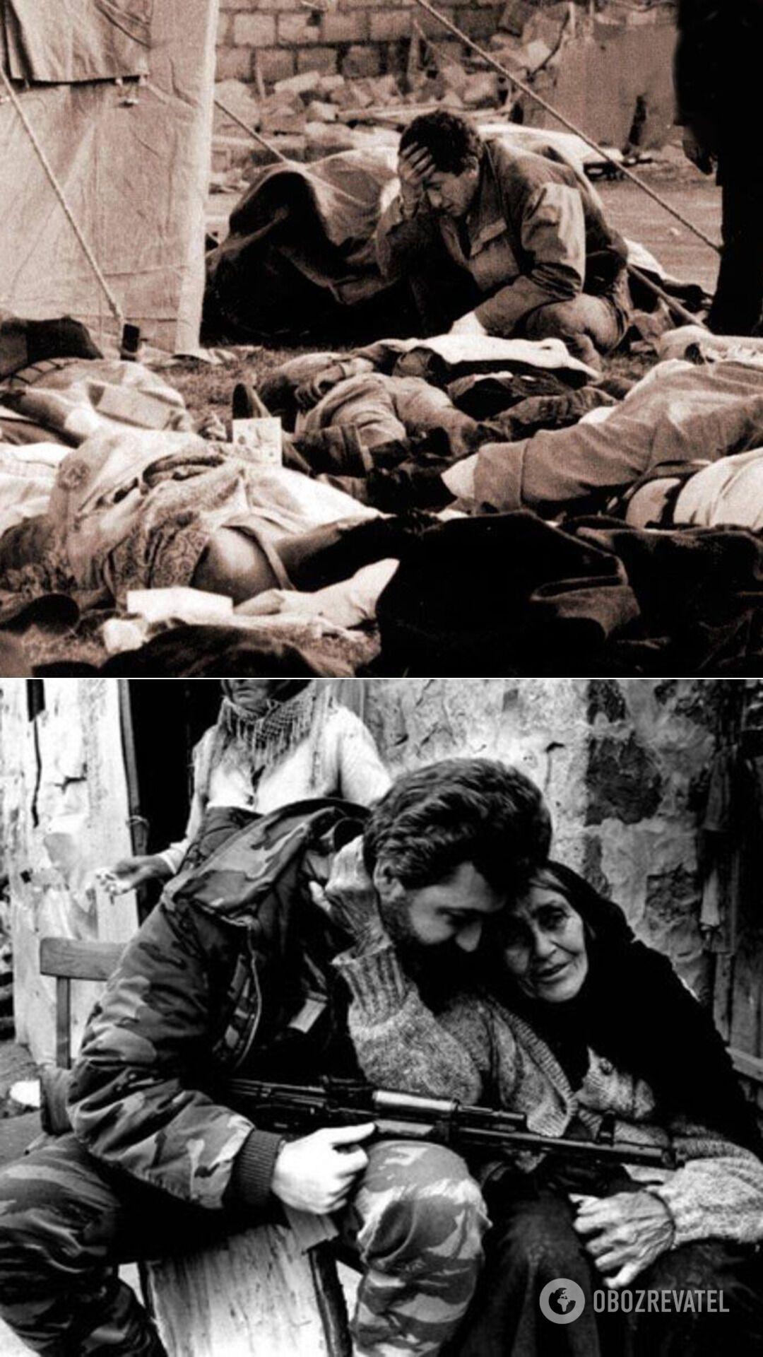 "Результат обстрілу ""Градом"" міста Мартакерт, 1992 рік. А також бабуся-азербайджанка і вірменський боєць, 1993 год"