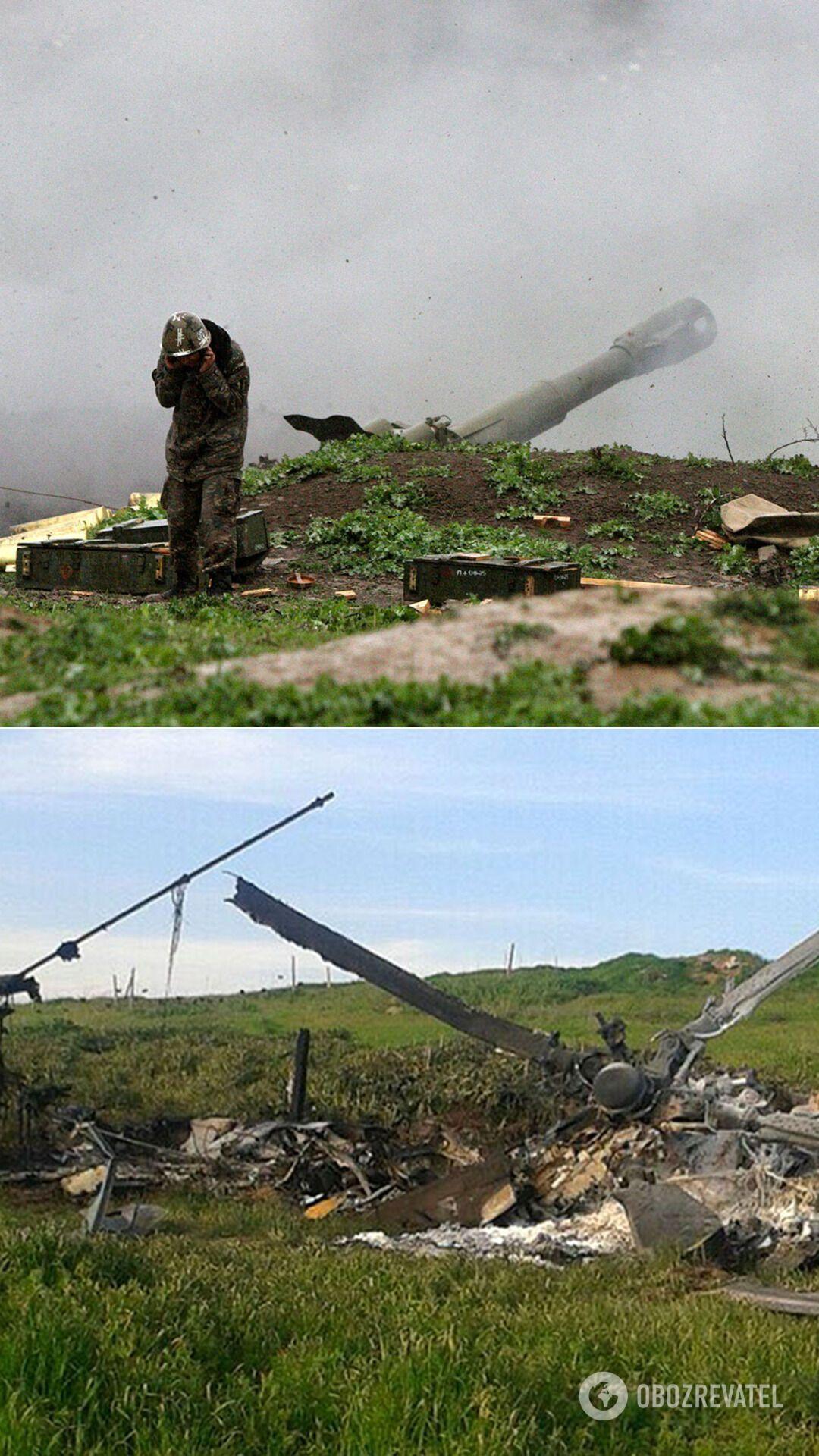 Військовослужбовець армії Карабаху в зоні бойових дій і збитий вертоліт ВПС Азербайджану в зоні карабаського конфлікту, 2016 рік