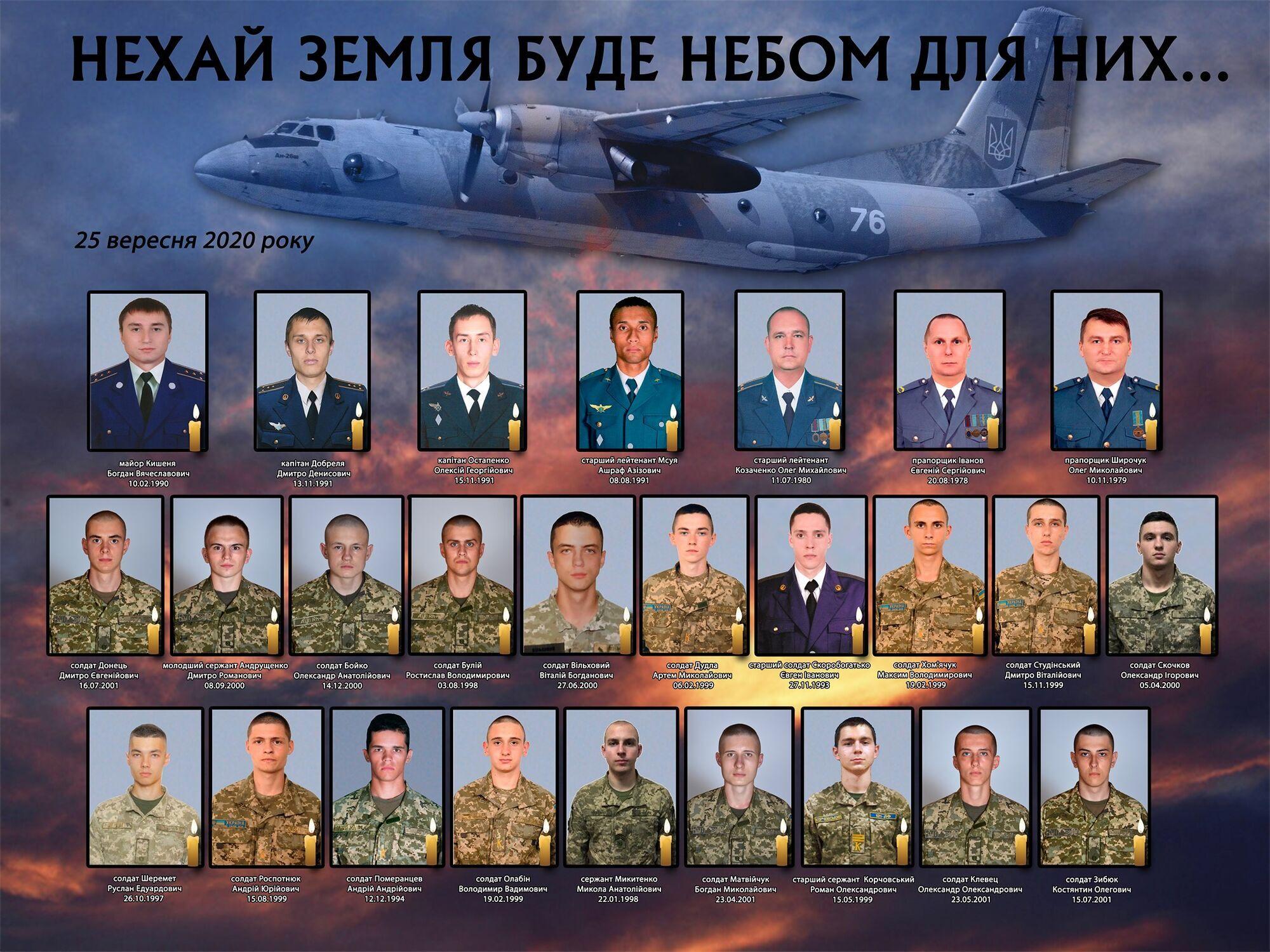 Унаслідок авіакатастрофи Ан-26 під Чугуєвом загинуло 26 осіб.