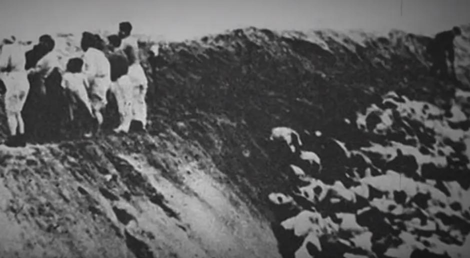 Тела убитых людей нацисты в спешке засыпали землей .