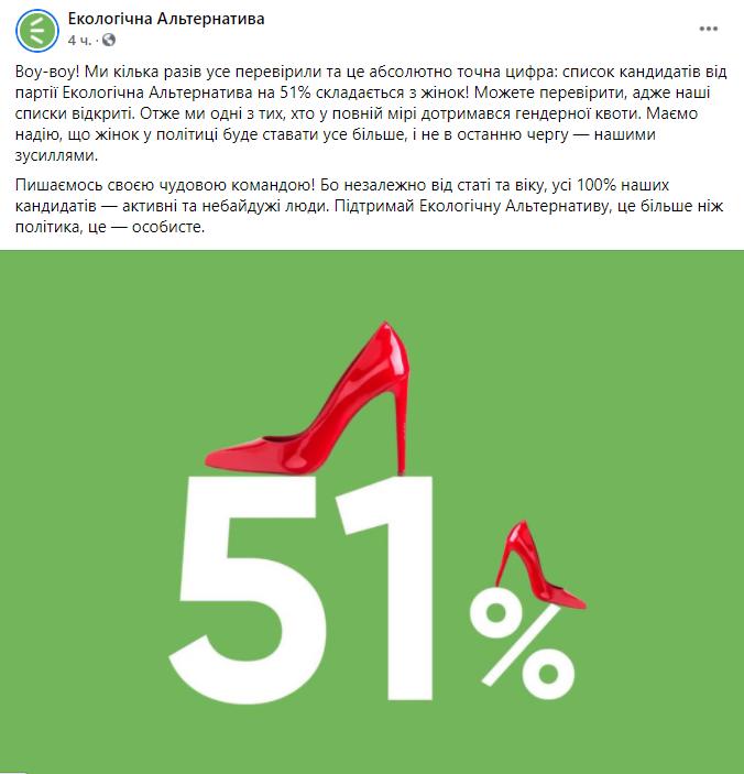"""""""Экологическая альтернатива"""" в полной мере соблюла гендерную квоту"""