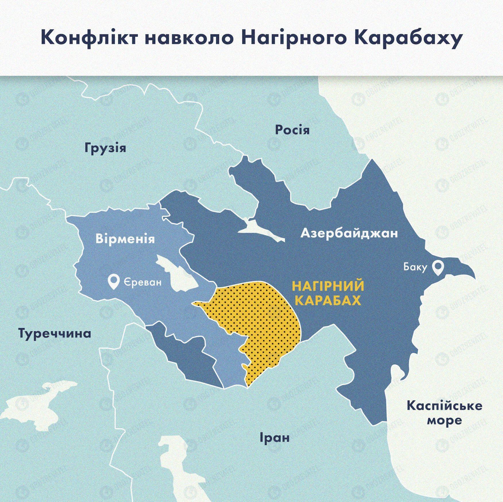 Карта конфликта в Нагорном Карабахе.