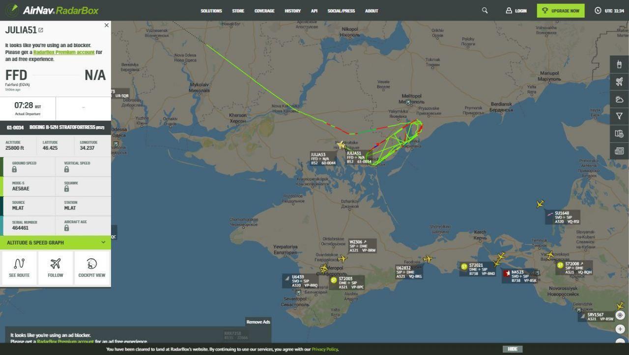 Бомбардировщики ВВС США вошли в воздушное пространство Украины и приблизились к Крыму.