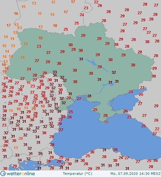 Карта средних температур.