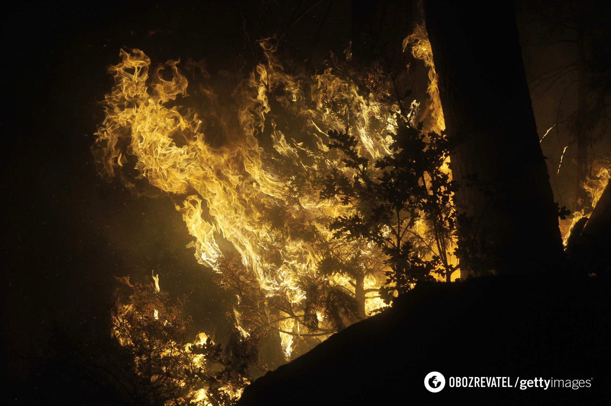 Пожар возле озера Шейвер