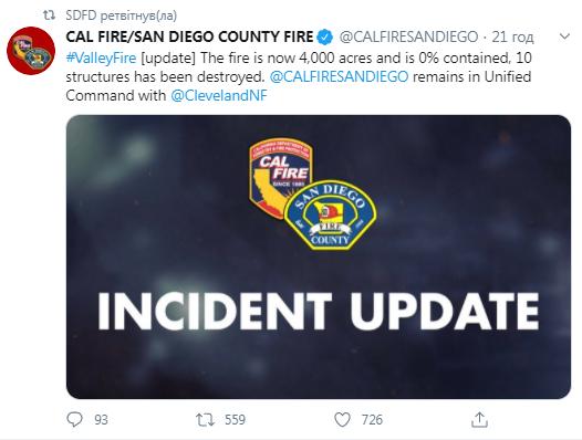 Сообщение пожарников.