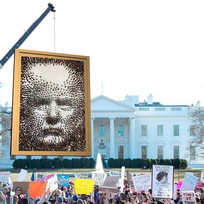 Огромный портрет Дональда Трампа