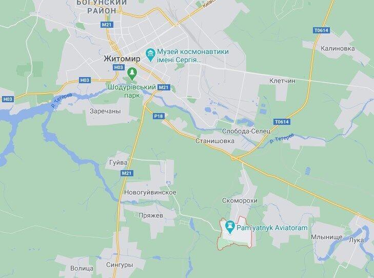 Озерное расположено в 15 минутах езды от Житомира.