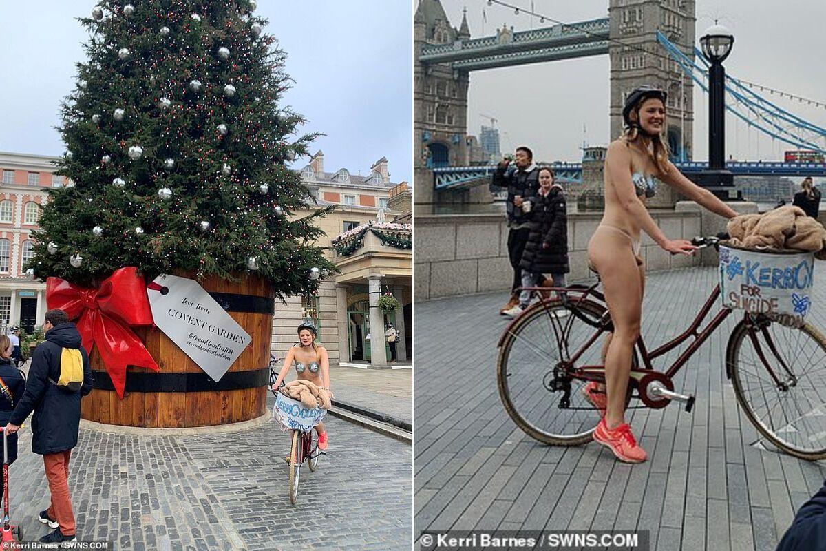 Керрі Барнс поруч з різдвяною ялинкою і Тауерським мостом