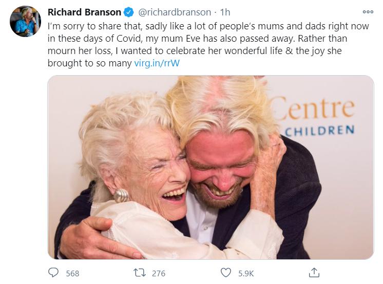Ричард Брэнсон сообщил о смерти своей матери
