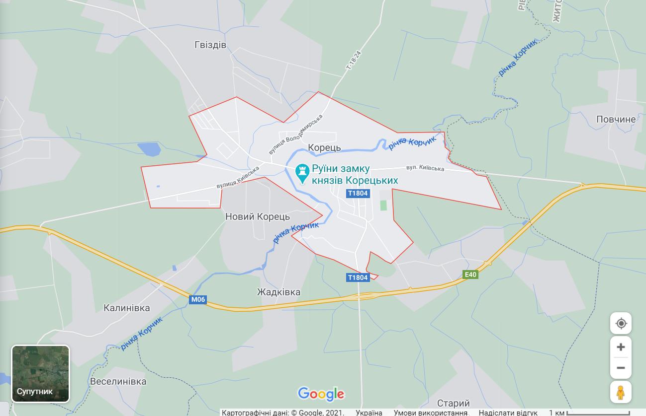 Карта міста Корець на Рівненщині
