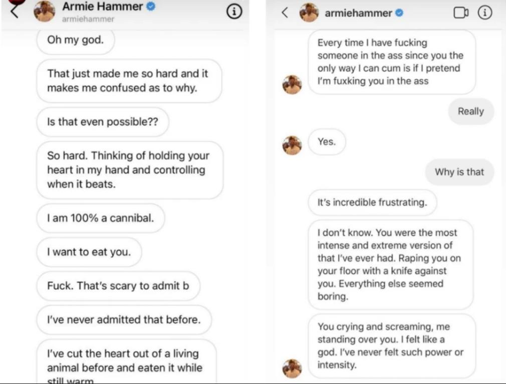 В сеть попала странная переписка Хаммера с девушкой