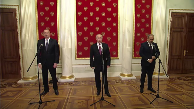 Алиев, Путин и Пашинян после переговоров