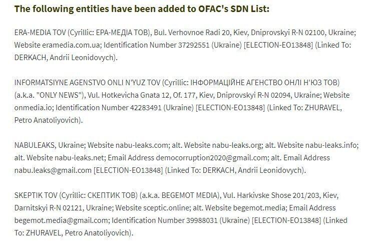 Список сайтів, проти яких запровадили санкції.