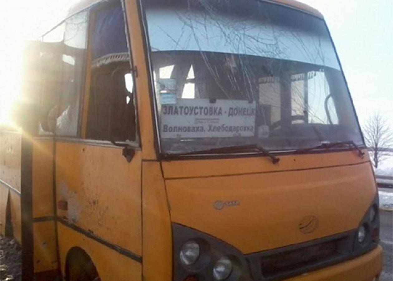 Автобус ехал в Донецк, остановившись на блокпосту при въезде в Волноваху