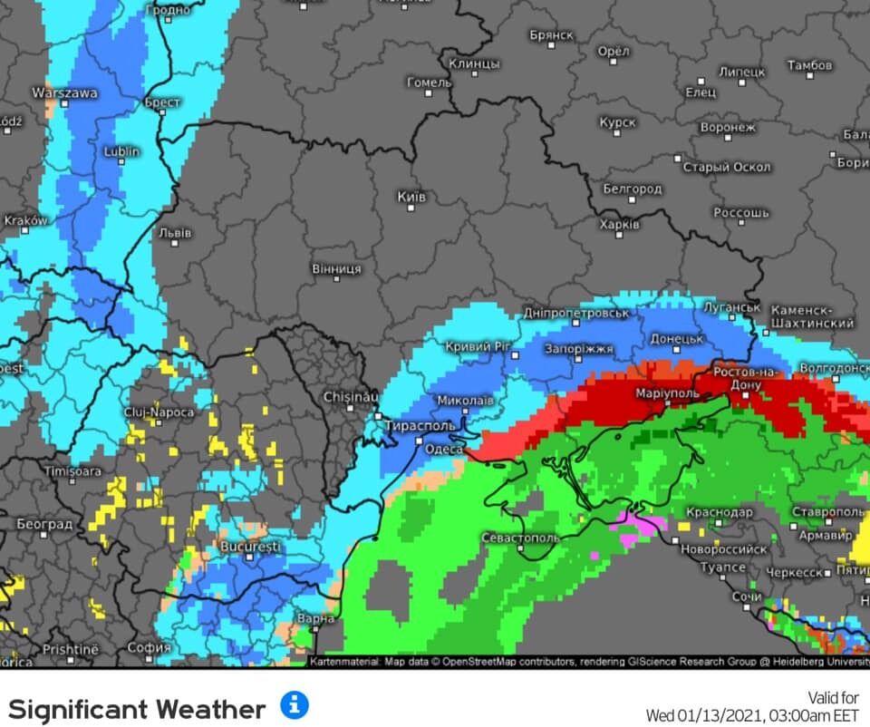 Погіршення погоди в Україні 13 січня