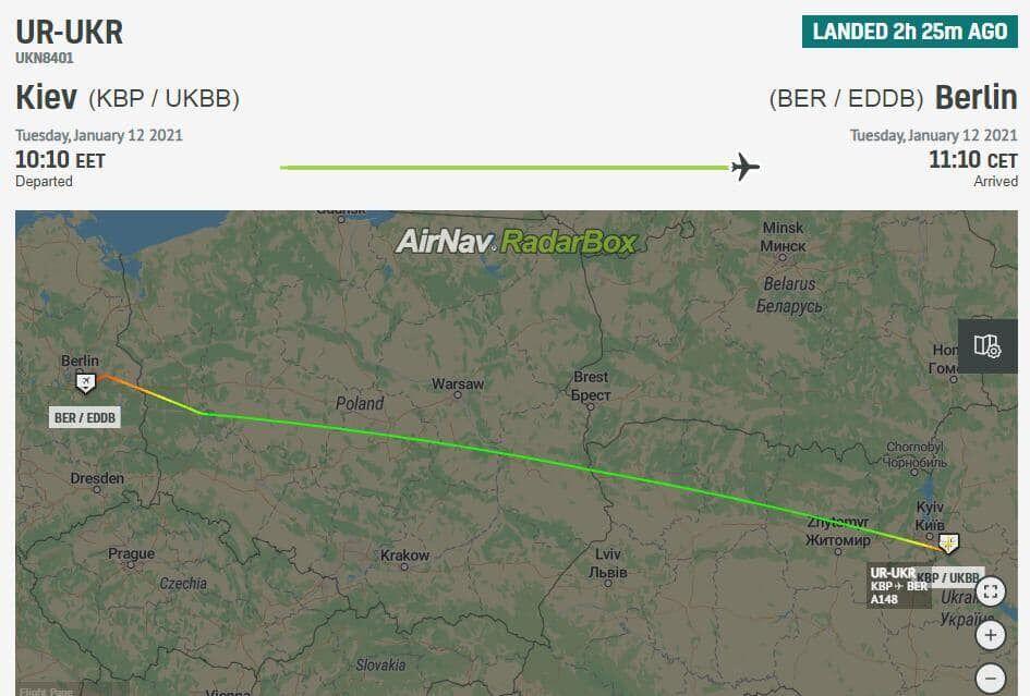 Дані про політ Єрмака до Берліну.