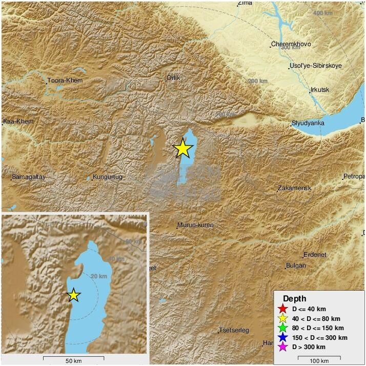 Эпицентр землетрясения на российско-монгольской границе.